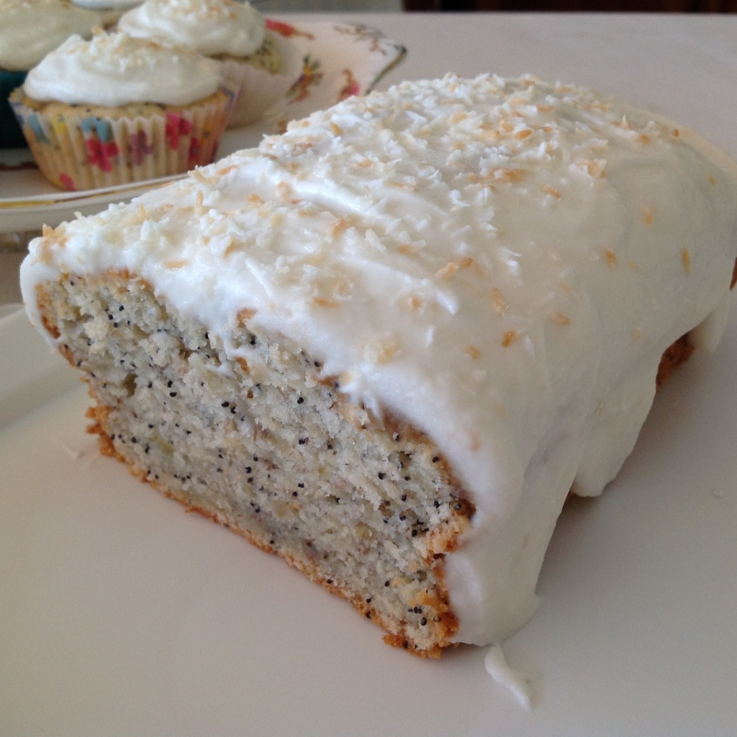 Banana & Poppy Seed Loaf with Mascarpone and Coconut Frosting