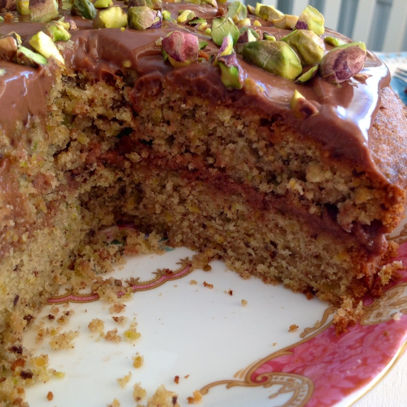 Pistachio Cake with Milk Chocolate Frosting