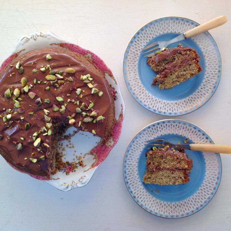 Pistachio Cake with Milk Chocolate Frosting